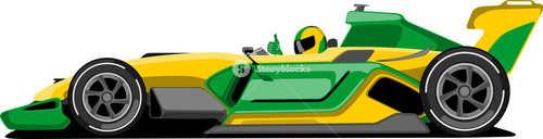 Yellow And Green Formula One Car.