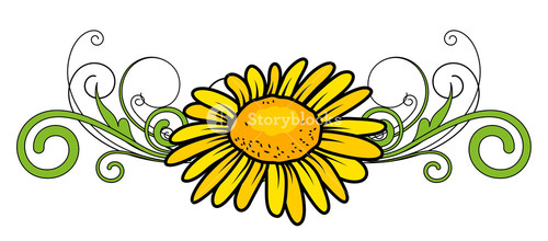 Yellow Flower Divider Vector