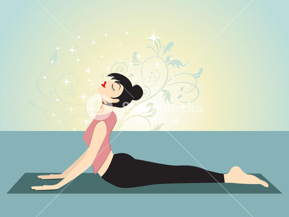 Yoga Girl With Creative Background