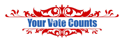 Your Vote Counts Decorative Banner Text Vector